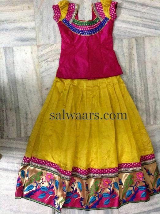 Yellow Lehenga Pythani Border   Indian Dresses