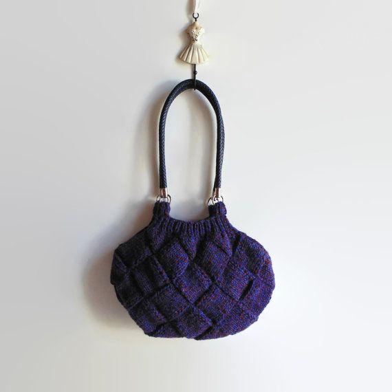 Marl Purple Wool Chunky Knit Bag Hobo Shoulder Boho Bag by branda