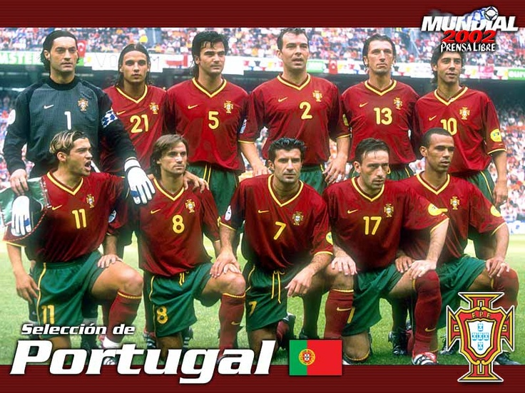 What a fabulous team this was! Still remember the breathtaking brand of football it had to offer. Pity some stupid Austrian referee stole it all away. Standing (L to R): Vitor Baia, Nuno Gomes, Fernando Couto, Jorge Costa, Teixeira Dimas, Rui Costa; Kneeling (L to R): Sergio Conceicao, Joao Pinto, Luis Figo, Paulo Bento, Costinha