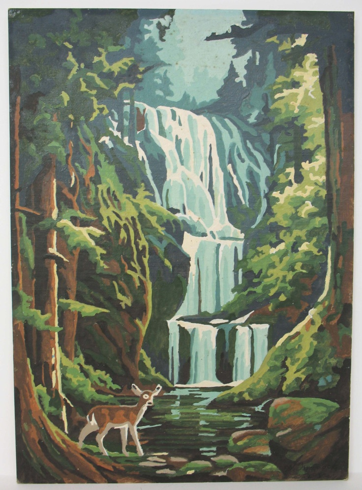 Water Fall Paint By Number Oil Painting   Could Be Adapted As Wall Mural