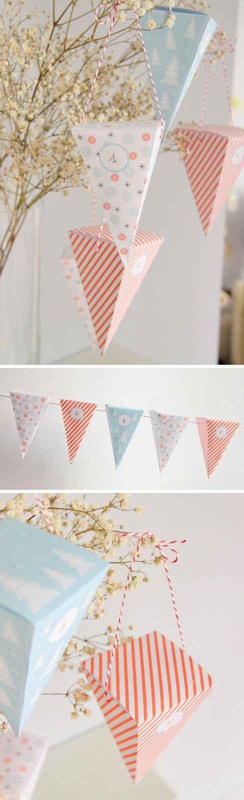 Free printable advent calendar of cone-shaped boxes with 3 different cone template options for a DIY advent boxes garland