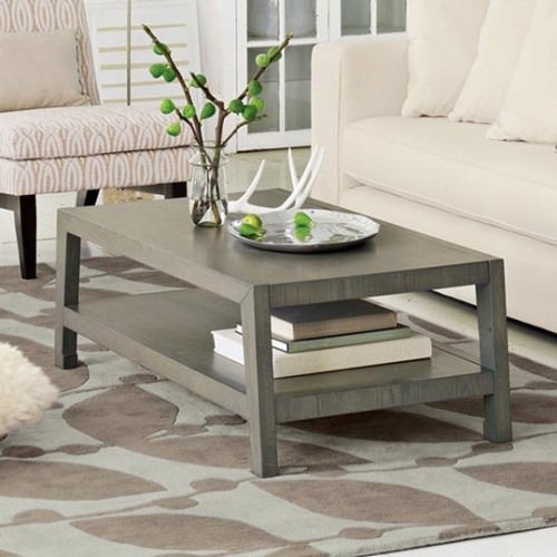 Grey stained coffee table - alternative to traditional wood stains - love this color choice