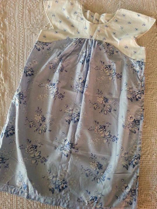 Handmade by La la bree  Gorgeous blue floral girls dress