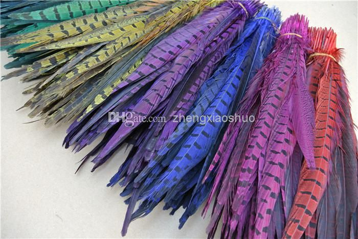 30 35cm Red Purple Orange Lime Green Black Hot Pink Turquoise Royal Blue Yellow Ringneck Pheasant Tail Feathers Cheap Party Supplies Online Cheap Party Themes From Zhengxiaoshuo, $26.06| Dhgate.Com