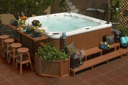 Cool Hot Tub Surround With Narrow Outdoor Bar Table Idea Feat Wood Greenery Bed Design Plus Comfortable Stools
