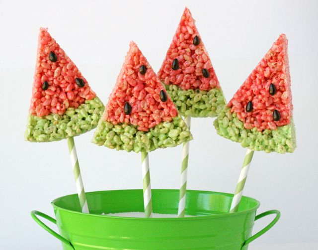 Fabulous Watermelon Ideas For Summer BBQs: Watermelon Krispie, Idea, Edible Crafts, Food, Recipes, Glorious Treats, Watermelon Rice, Rice Krispie Treats, Rice Crispy Treats