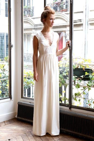 L'amusée robe de mariée longue ligne blanche L'Insouciante