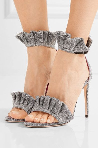 Heel measures approximately 100mm/ 4 inches Silver textured-lamé Buckle-fastening ankle strap Designer color: Iron Lurex Made in Italy