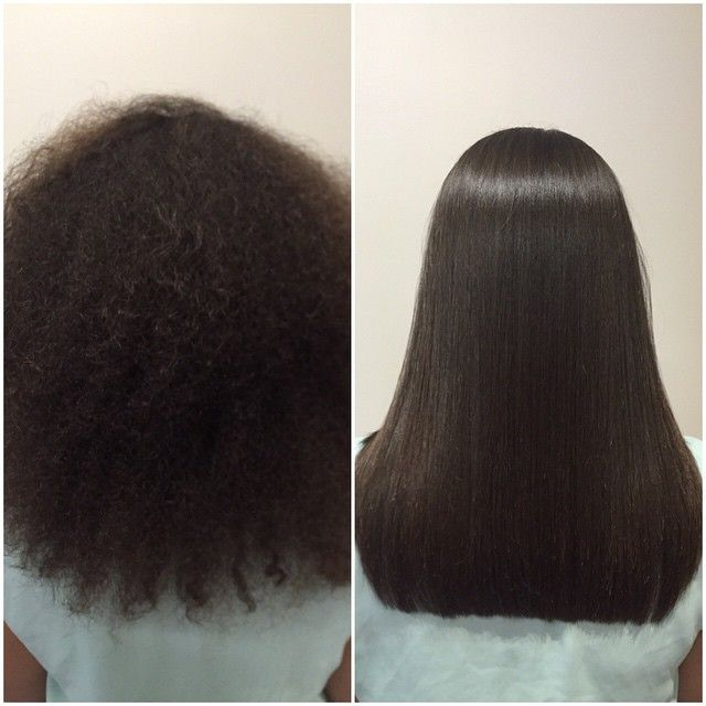 Kerastraight KS Ultimate before & after on Afro hair