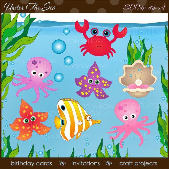 INSTANT DOWNLOAD   Under The Sea   Clip art by LittlePumpkinsPix, $5.00