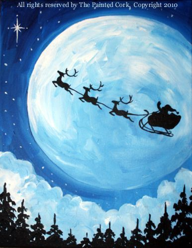 example of how to paint an outline of Santa flying.