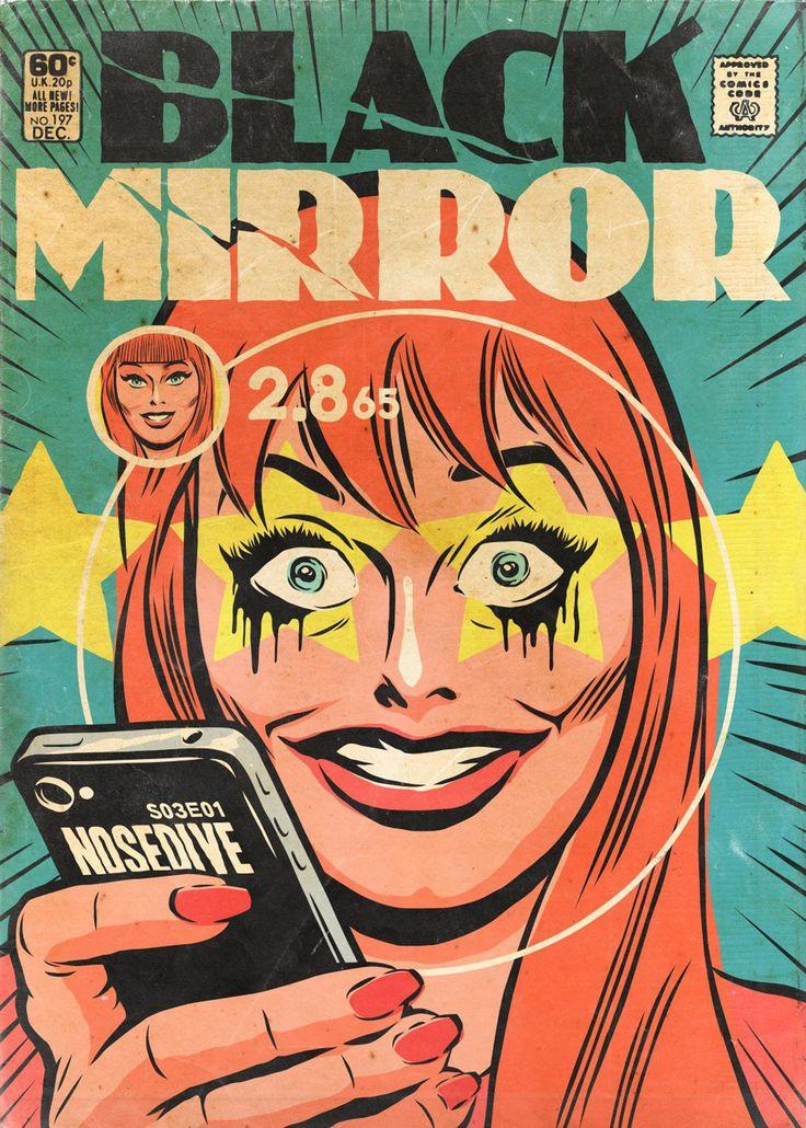 Episódios de Black Mirror são transformados em capas da Era de Ouro dos quadrinhos