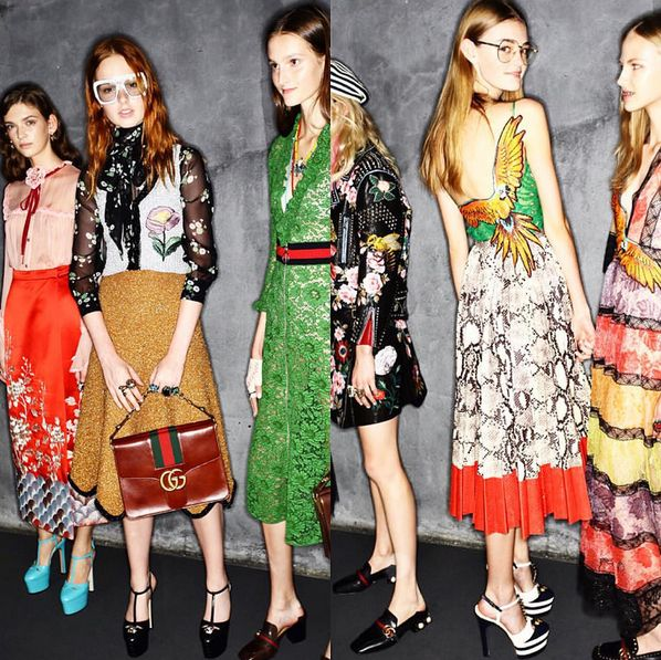 Its a blend of geek and chic with solid @gucci accessory refrences, expensive vintage look with frills and glitter, shine and sequins to flouncy column dresses all packed in a studious seventies sensibilty by Alessandro Michele (who took over from Frida Giannini at the beginning of this year)  The house's signature red and green and GGs are brought back in a glimmering style which makes the Alessandro effect looks set in stone to stay! #MFW