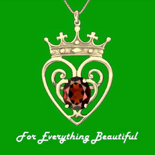 Queen Mary Design Garnet Luckenbooth Large 14K Yellow Gold Pendant