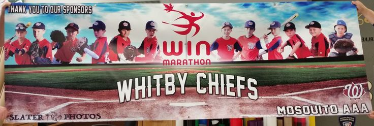 This 3'h x 9'w digital print on 18 oz scrim banner media with blockout, completed for Whitby Chiefs Baseball by Speedpro Imaging Oshawa.