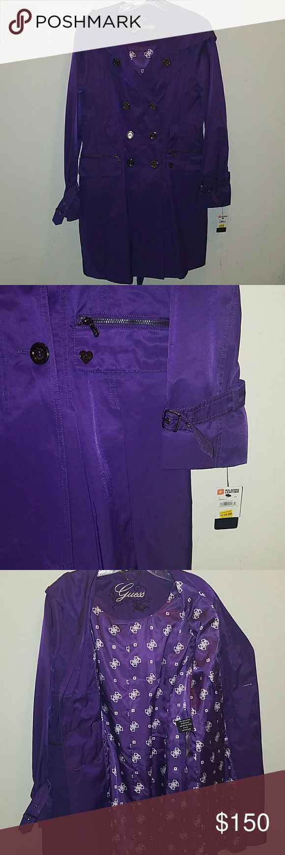 GUESS PURPLE TRENCH COAT Guess purple, trench coat, with hood New with tags and never worn Guess Jackets & Coats Trench Coats