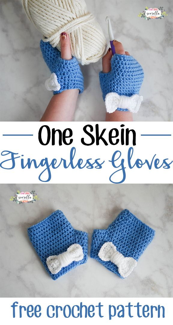 Make these cute fingerless gloves with just one skein of Vanna's Choice yarn! | Free crochet pattern from Sewrella