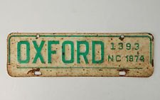 Vintage 1974 Oxford NC City License Plate North Carolina White green