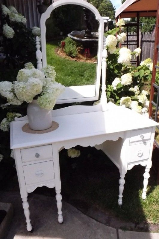 White Vanity Desk With Mirror - Foter