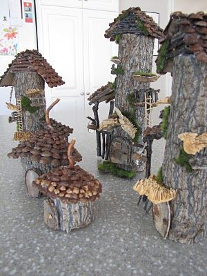 Fairy garden homes made out of logs and big branches. Decorating on outside is all that is needed unless you can hollow out the inside.