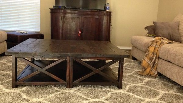 Rustic X Square Oversized Coffee Table DIY
