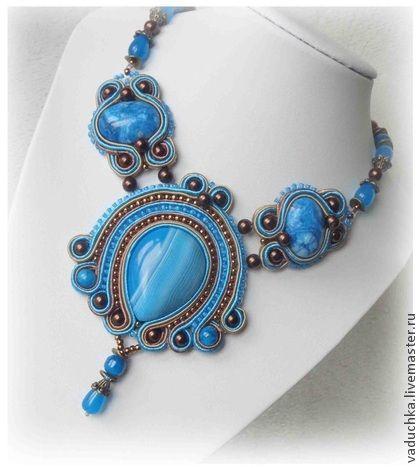 Колье-кулон планировалось по мотивам колье ЗАМУЖ ЗА МОРЕ - синий,голубой