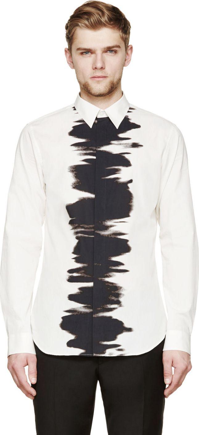 Calvin Klein Collection White & Black Water Print Button-Up Shirt