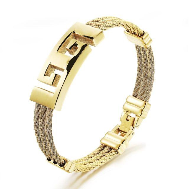 Оптовая 2016 горячих продажи мода мужские украшения титана стали золотой браслет Great Wall pattern полые браслеты мужчина подарки LGH760