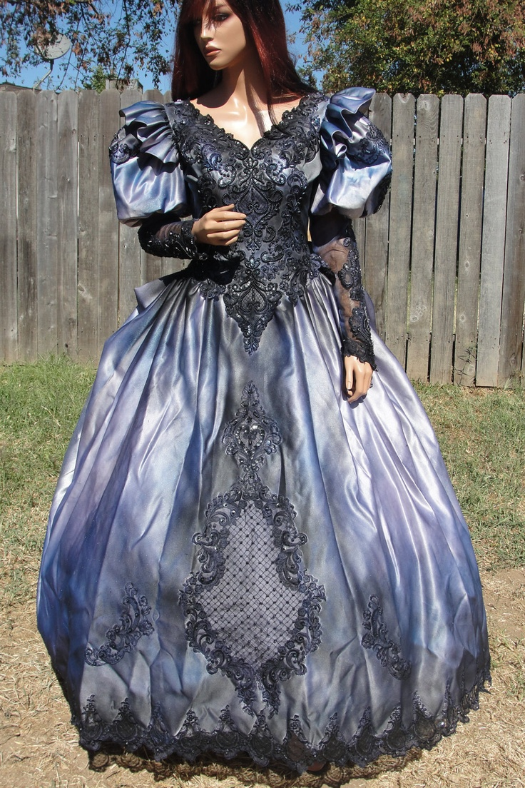 Vintage hand dyed and painted upcycled gothic wedding gown for Vintage sites like etsy