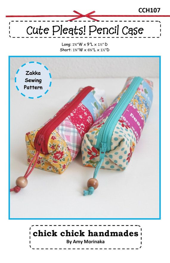 PDF Cute Pleats Pencil Case Sewing Pattern by chickchickhandmade
