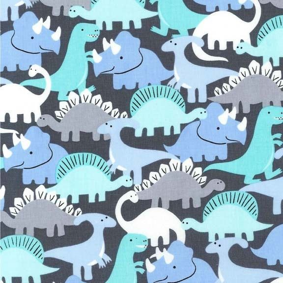 Dino-Mites, Pastel Pop Blue and Grey Dinosaurs by Michael Miller Fabrics