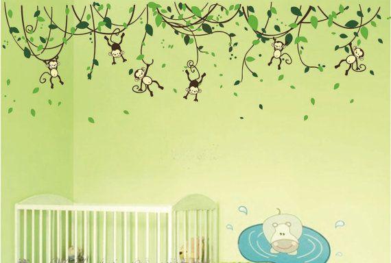 JUNGLE MONKEY Vine Kids Nursery Wall Mural Sticker by AmazingWall, $69.99