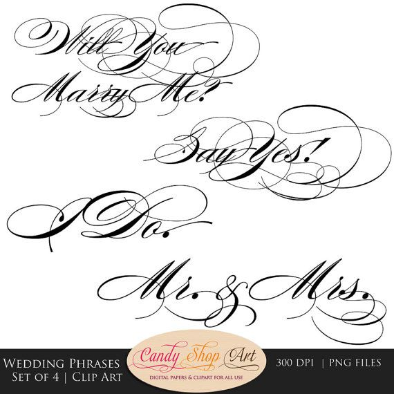Instant Download  Wedding Phrases by CandyShopDigitalArt on Etsy, $3.90