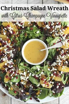 Vibrantly beautiful, easy and delicious! This Christmas Salad with Citrus-Champagne Vinaigrette is a salad recipe that's truly fit for a celebration! A perfect holiday salad for Thanksgiving, too! This salad with goat cheese, pomegranate arils, crunchy pistachios, and juicy orange slices is a showstopper! | www.TwoHealthyKitchens.com