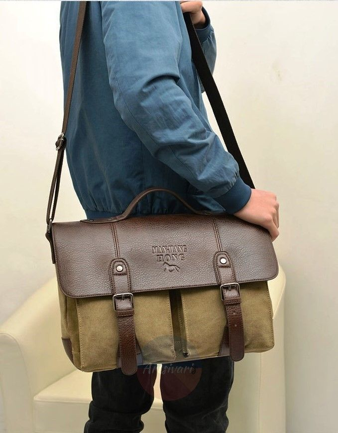 Artsivaris Men Canvas Leather Business Briefcase Travel Large Messenger Bag | eBay