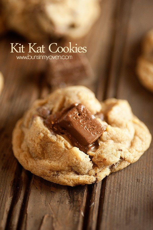 The BEST cookie dough filled with mini Kit Kat candy bars!