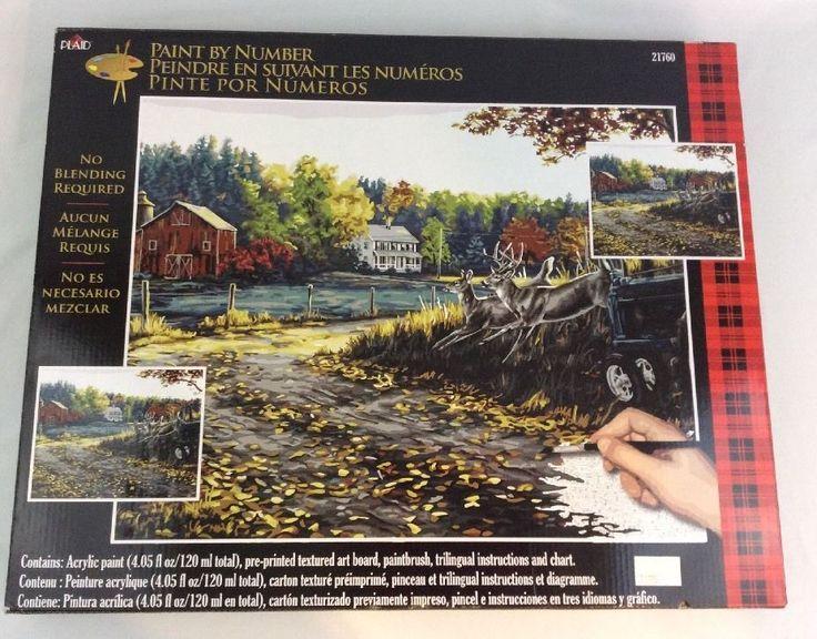 Plaid Paint By Number Kit Morning Run 21760 Deer Farm 20 x 16-inch #Plaid