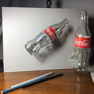 hyperrealistic drawing of an empty bottle of Coca-Cola by Marcello Barenghi
