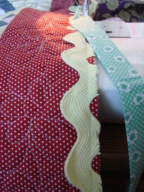 Jumbo Rick Rack in binding.  Sewn on the front first then regular binding added.