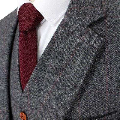 Classic Grey Herringbone Tweed Suit