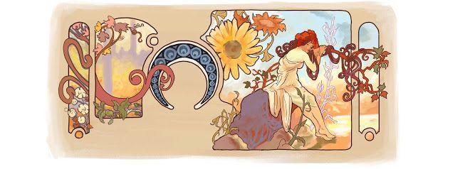 Alfonse Mucha's 150th Birthday, July 24, 2010, Google Doodle