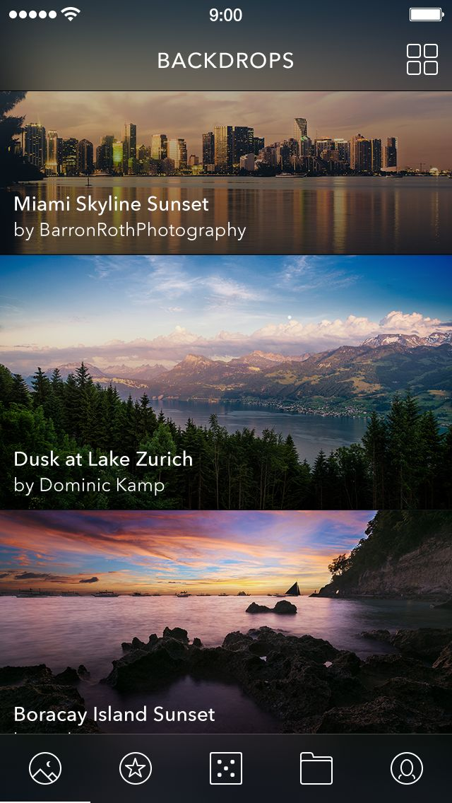 Unofficial re-design for Backdrops App by Alexander Zaytsev