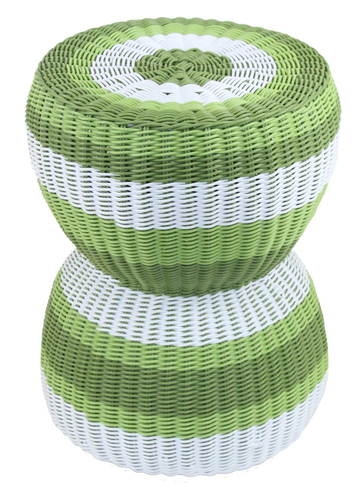 NEW IN: Handwoven GREEN hourglass rattan stool - waterproof! From $100RRP AUD.  http://www.philbee.com.au/decor/outdoor-indoor-waterproof-hand-woven-rattan-stool-938.html