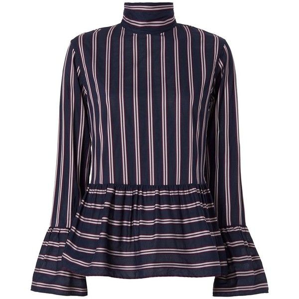 Le Sarte Pettegole Women's Ruffled Woven Stripe Blouse (1.660 HRK) ❤ liked on Polyvore featuring tops, blouses, blue ruffle blouse, striped long sleeve top, stripe top, ruffle blouse and blue long sleeve blouse