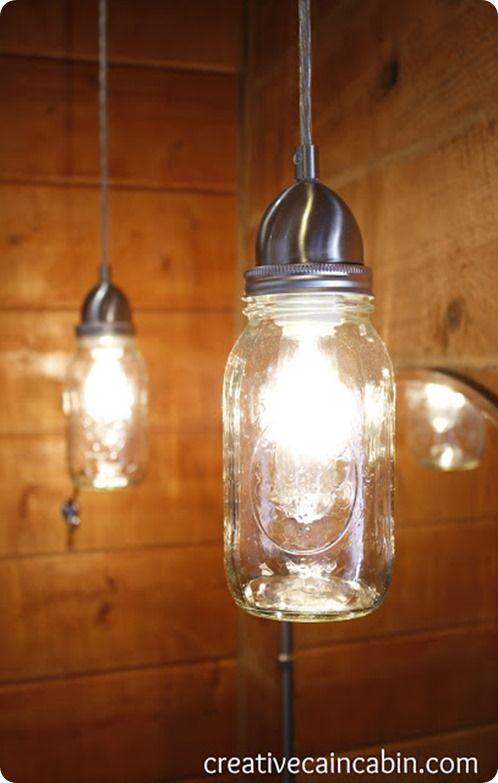 hand-made mason jar pendant from knockoffdecor.com - perhaps a bundle for over the kitchen island?
