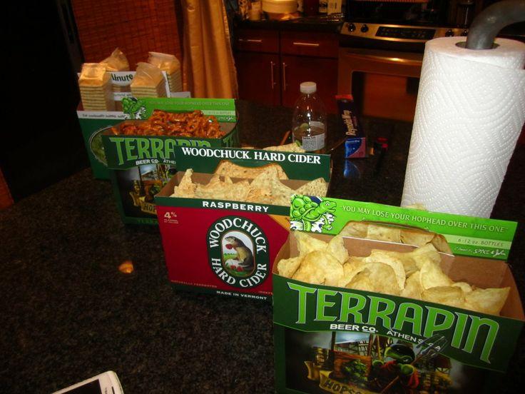 Snacks in empty beer cartons