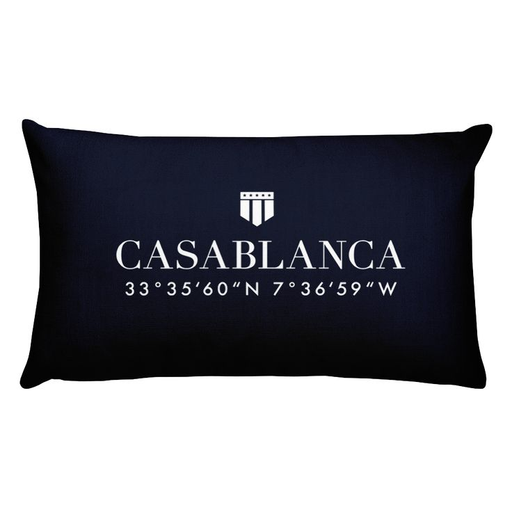 Casablanca, Africa Pillow with Coordinates