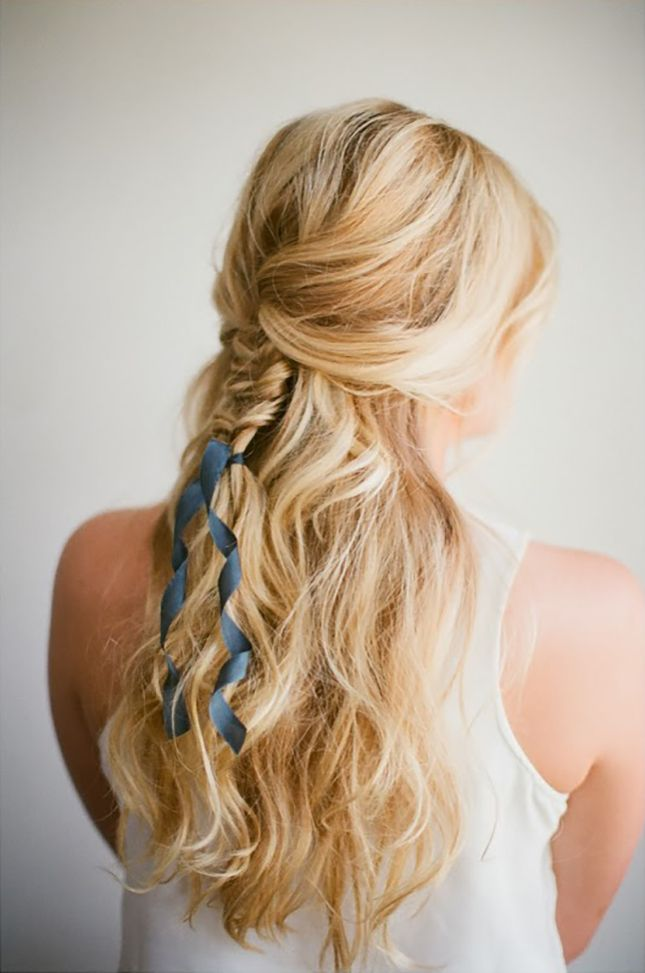 Add curled ribbon to your half-up 'do.