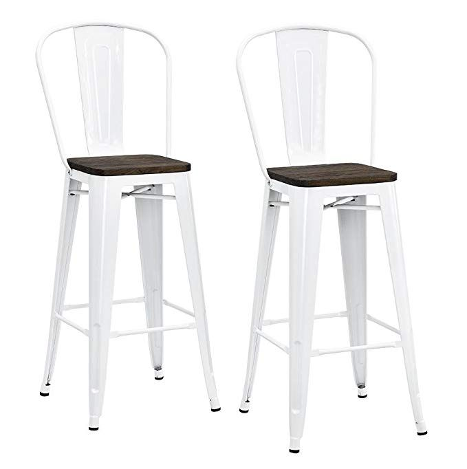 Amazon Com Dhp Luxor Metal Counter Stool With Wood Seat And