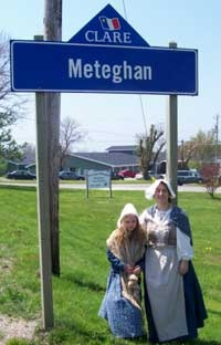 meteghan sign with period costumes
